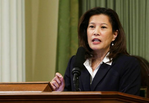 FILE - In this March 23, 2015, file photo, California Supreme Court Chief Justice Tani Cantil-Sakauye delivers her State of the Judiciary address before a joint session of the Legislature at the Capitol in Sacramento, Calif.