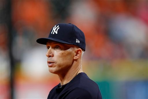 New York Yankees manager Joe Girardi (28) looks on prior to game 6 of an American League Championship Series baseball game against the Houston Astros on Friday, Oct. 20, 2017, in Houston.