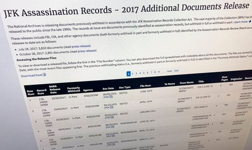 Part of a web page showing the page from the National Archives showing a listing of records released on Thursday, Oct. 26, 2017, in Washington, relating to the assassination of President John F. Kennedy. (AP Photo/Jon Elswick)