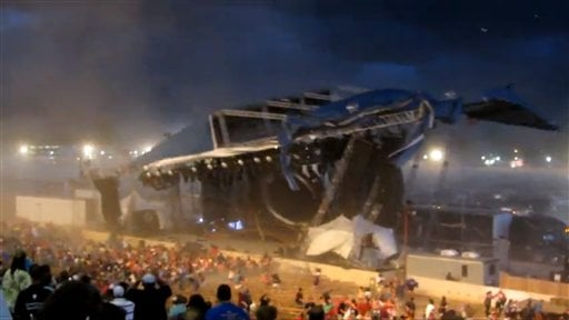 In this Saturday, Aug. 13, 2011 frame grab from video provided by Jessica Silas, a stage collapses at the Indiana State Fair, killing five and injuring dozens of fans waiting for the country band Sugarland to perform, in Indianapolis.