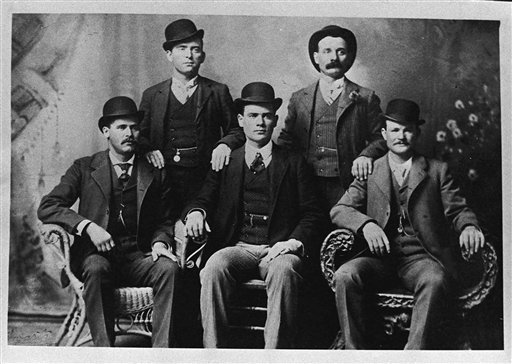 FILE - This image provided by the Nevada Historical Society shows the famous group portrait taken in Fort Worth, Texas shortly after Butch Cassidy and his gang robbed the Einnemucca, Nev., bank in 1900.