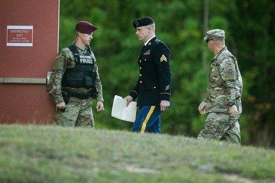 United States Army Sgt. Bowe Bergdahl arrives at the Fort Bragg courtroom facility for a sentencing hearing.