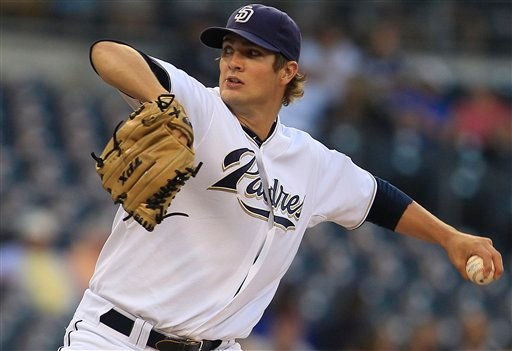 San Diego Padres starter Cory Luebke works against the New York Mets during the first inning of a baseball game, Tuesday, Aug. 16, 2011, in San Diego. (AP Photo/Lenny Ignelzi)