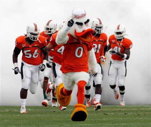 FILE - This April 16, 2011, file photo shows Sebastian the Ibis, the Miami Hurricanes' mascot, leading the team on to the field for a spring NCAA college football game, at Lockhart Stadium in Fort Lauderdale, Fla.