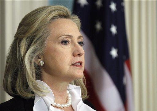 Secretary of State Hillary Rodham Clinton makes a statement about Syria, Thursday, Aug. 18, 2011, at the State Department in Washington. (AP Photo/Luis M. Alvarez)
