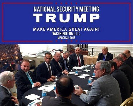 President Donald Trump's Twitter account, George Papadopoulos, third from left, sits at a table with then-candidate Trump and others.