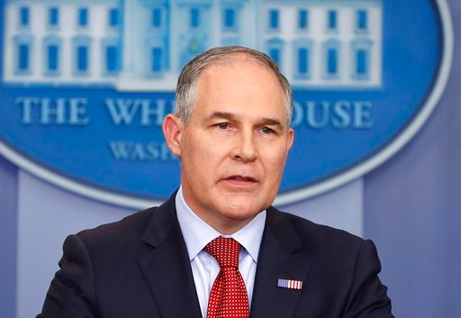 FILE - In this June 2, 2017 file photo, Environmental Protection Agency administrator Scott Pruitt speaks in the Brady Press Briefing Room of the White House in Washington. (AP Photo/Pablo Martinez Monsivais, File)