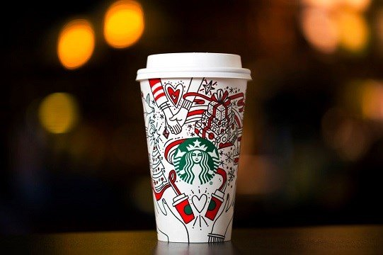 Starbucks shows the company's 2017 holiday cup on display in Seattle.