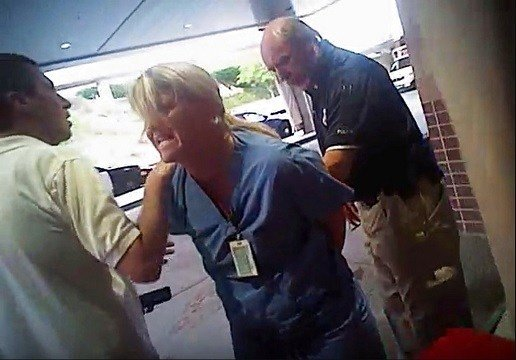 Nurse Alex Wubbels is arrested by a Salt Lake City police officer at University Hospital in Salt Lake City.