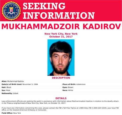 This image released by the FBI shows the seeking information poster for Mukhammadzoir Kadirov. The poster doesn't say why investigators want to know more about the man. (FBI via AP)
