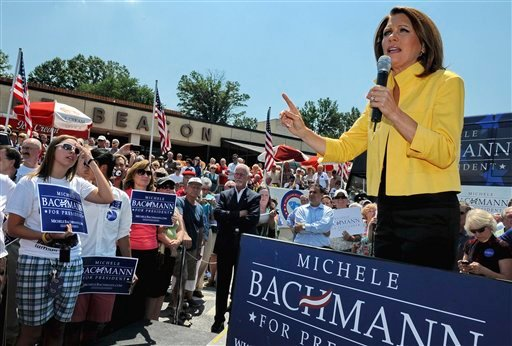 FILE - In this Aug. 16, 2011, file photo Republican presidential candidate, Rep. Michele Bachmann, R-Minn., speaks to supporters in Spartanburg, S.C.
