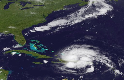 An image released by the NOAA made from the GEOS East satellite shows Hurricane Irene on Aug. 23, 2011 as it passes over Puerto Rico and the Dominican Republic. (AP)