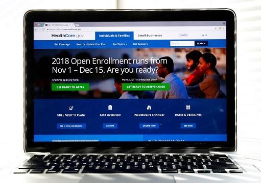 Healthcare.gov website is seen on a computer screen in Washington.