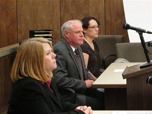Jessica Beagley, 36, is seen in court on Tuesday, Aug. 23, 2011, in Anchorage, Alaska. City prosecutor Cynthia Franklin is shown on the left, and in the middle is Beagley's attorney, William Ingaldson.