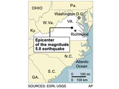 UPDATES magnitude; Map locates the epicenter of an earthquake in Virginia