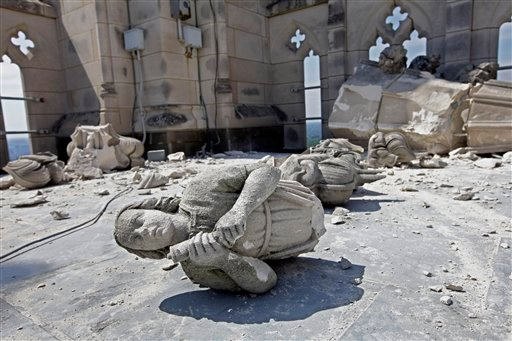 Damage to the Washington National Cathedral is seen the day after a 5.8 magnitude earthquake shook Washington and much of the East Coast, Wednesday, Aug. 24, 2011. (AP Photo/J. Scott Applewhite)