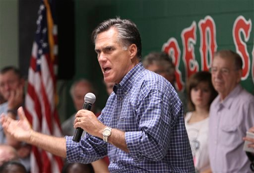Republican presidential candidate, former Massachusetts Gov. Mitt Romney speaks during a town hall meeting at the cities Recreation Center in Keene, N.H., Wednesday, Aug. 24, 2011.