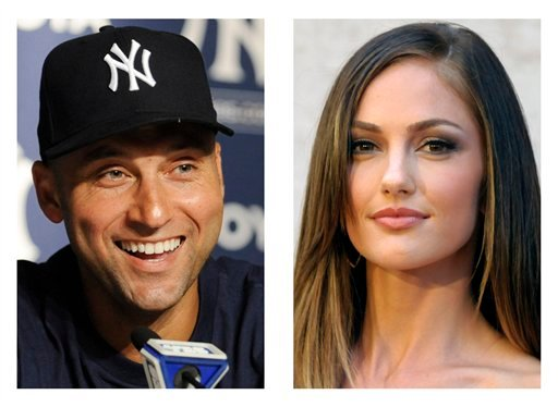 FILE - In these 2011 file photos, New York York Yankees' Derek Jeter and actress Minka Kelly are shown. After three years together, Jeter has broken up with Kelly, the actress' agent told The Associated Press.