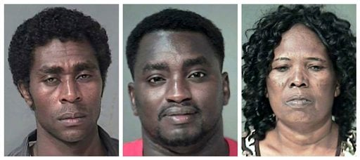 This combo mode from booking photos provided by the Maricopa County Sheriff's Office shows, from left, Shani Asa, Shullu Gorado and Luwiza Daman.