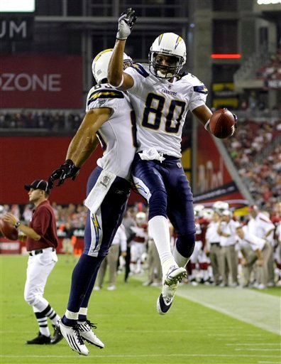 San Diego Chargers' Malcom Floyd (80) celebrates his touchdown with Vincent Jackson during the first half of an NFL preseason football game against the Arizona Cardinals on Saturday, Aug. 27, 2011, in Glendale, Ariz.