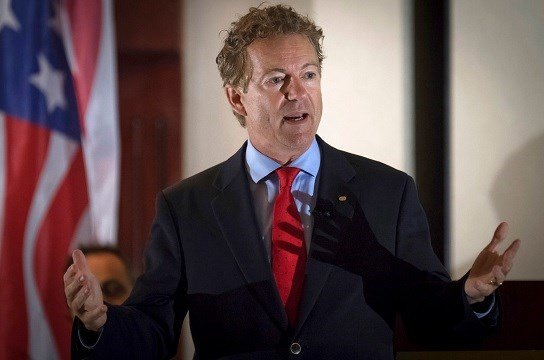 Sen. Rand Paul, R-Ky., speaks to supporters in Hebron, Ky.