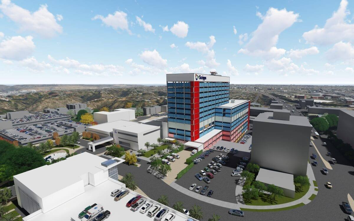 Artist rendering of the new acute care tower planned for Scripps Mercy Hospital San Diego as part of Scripps Health's new system-wide master plan.