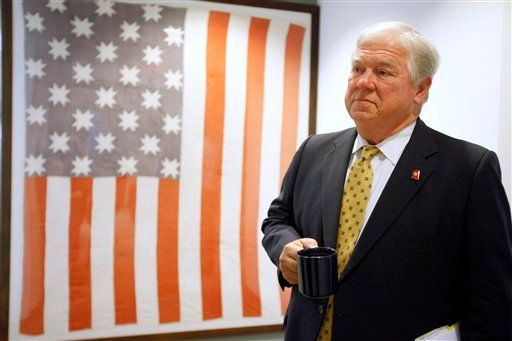 Republican Governors Association policy chairman, Mississippi Gov. Haley Barbour waits for the start of a news conference to talk about the RGA's medicaid reform ideas for the states, Tuesday, Aug. 30, 2011, in Washington.
