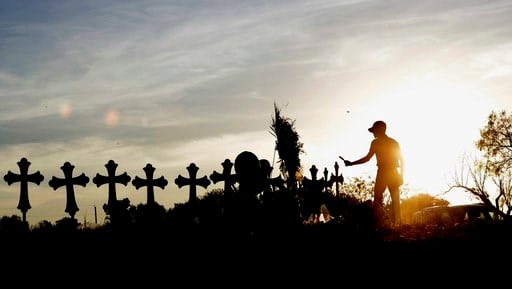 A makeshift memorial for the First Baptist Church victims Tuesday, Nov. 7, 2017, in Sutherland Springs, Texas. (AP Photo/David J. Phillip)