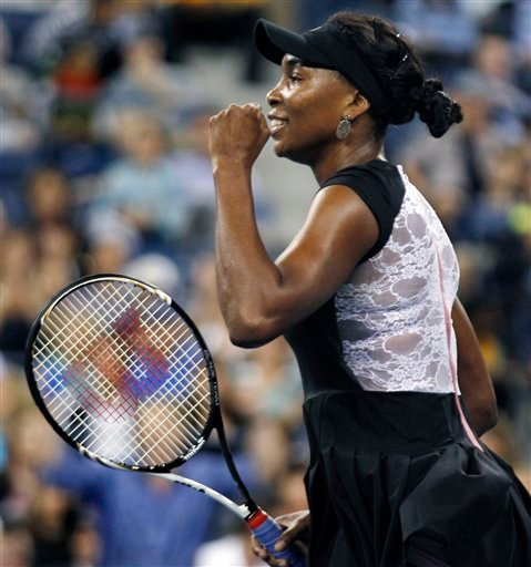Venus Williams, of the United States, pumps her first after defeating Vesna Dolonts, of Russia, 6-4, 6-3 during the first round of the U.S. Open tennis tournament in New York, Monday, Aug. 29, 2011.