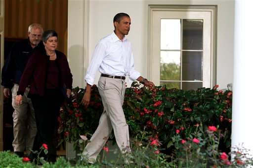 President Barack Obama enters the Rose Garden with FEMA Administrator Craig Fugate, left, and Homeland Security Secretary Janet Napolitano, to speak about Hurricane Irene at the White House in Washington Aug. 28, 2011. (AP Photo/Jacquelyn Martin)