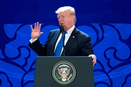 U.S. President Donald Trump speaks at the Asia-Pacific Economic Cooperation (APEC) CEO Summit at the Aryana Convention Center in Danang, Vietnam, Friday, Nov. 10, 2017. (AP Photo/Mark Schiefelbein)