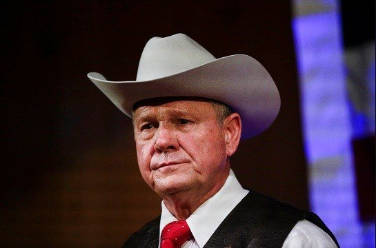 Former Alabama Chief Justice and U.S. Senate candidate Roy Moore speaks at a rally, in Fairhope, Ala.