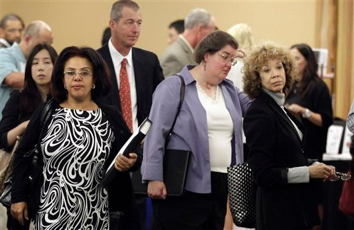Job Seekers line up for interviews during a job fair Thursday, Sept. 1, 2011 in San Mateo, Calif. (AP)
