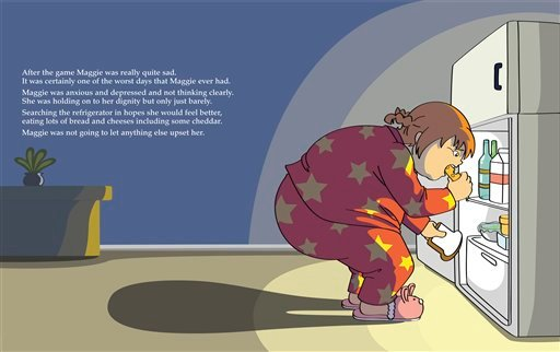 "This book page image courtesy of Aloha Publishers shows an inside page from ""Maggie Goes on a Diet,"" by Paul M. Kramer, illustrations by Mari Kuwayama."