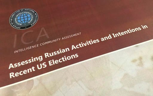 A part of the declassified version Intelligence Community Assessment on Russia's efforts to interfere with the U.S. political process is photographed in Washington, Friday, Jan. 6, 2017.  (AP Photo/Jon Elswick)