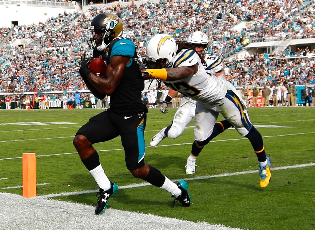Jacksonville Jaguars wide receiver Marqise Lee, left, is pushed out of the end zone by Los Angeles Chargers safety Tre Boston after catching a pass for a touchdown during the second half (AP Photo/Stephen B. Morton)