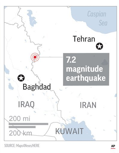 Map locates epicenter of quake (AP)