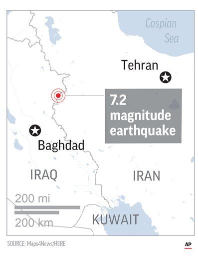 Map locates epicenter of quake (AP)