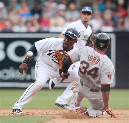 San Diego Padres' Orlando Hudson, left, catches a throw as San Francisco's Darren Ford, right, attempts to steal second during a baseball game, Monday, Sept. 5, 2011, in San Diego. Ford was called out on the play. (AP Photo/Chris Park)