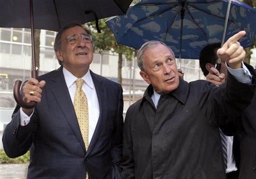 New York City Mayor Michael Bloomberg, right, shows Defense Secretary Leon Panetta, left, the World Trade Center 9/11 Memorial in New York,Tuesday, Sept. 6, 2011. (AP Photo/Susan Walsh, POOL)
