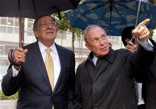 New York City Mayor Michael Bloomberg, right, shows Defense Secretary Leon Panetta, left, the World Trade Center 9/11 Memorial in New York,Tuesday, Sept. 6, 2011. (AP Photo/Susan Walsh, POOL)