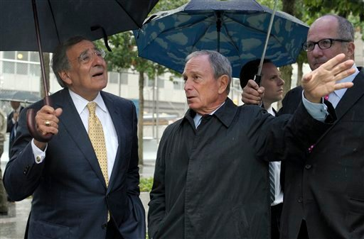 New York City Mayor Michael Bloomberg, right, shows Defense Secretary Leon Panetta, left, the World Trade Center 9/11 Memorial in New York,Tuesday, Sept. 6, 2011.