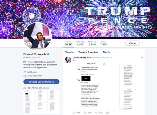 Trump Jr.'s release of the messages on Twitter came hours after The Atlantic first reported them. (Donald Trump Jr.'s Twitter account via AP)