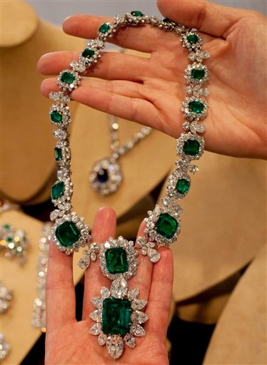 Elizabeth Taylor's emerald and diamond necklace and pendant, attached at the bottom, part of a suite by BVLGARI.