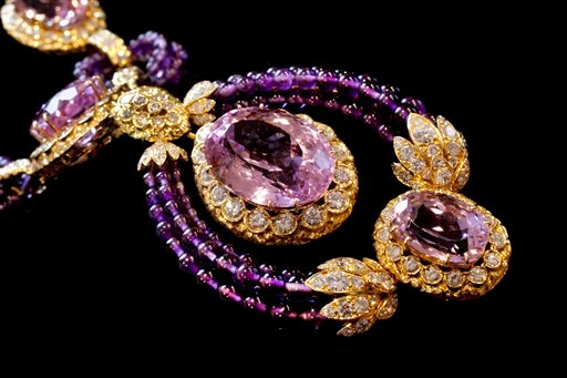 """Part of a Suite of Kunzite, amethyst and diamond """"Triphanes"""" jewelry by Van Cleef & Arpels, from Elizabeth Taylor's estate, is shown in this photograph at Christie's, in New York, Thursday, Sept. 1, 2001."""