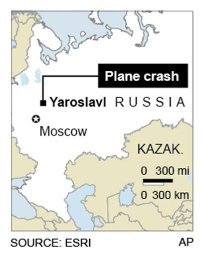 Map locates Russian jet crash, Wednesday near city of Yaroslavl.