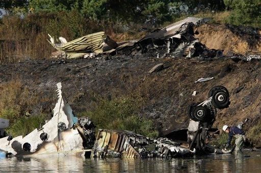 Wreckage of Russian Yak-42 jet, carrying a top ice hockey team, seen near the city of Yaroslavl, on the Volga River.