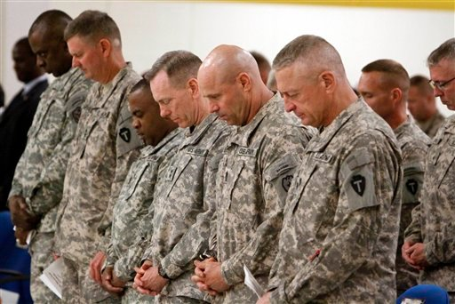 U.S Army Soldiers are seen during the hand-over ceremony of a military base in Basra, 340 miles (550 kilometers) southeast of Baghdad, Iraq, Wednesday, Sept. 7, 2011.