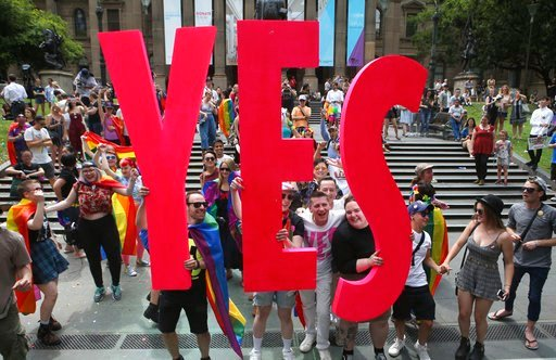 Australians supported gay marriage in a postal survey that ensures Parliament will consider legalizing same-sex weddings this year. (David Crosling/AAP Image via AP)