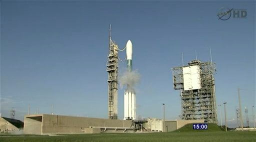 This framegrab image from NASA-TV shows the twin GRAIL satellites sitting on launch pad 37-A at the 15-minute hold mark atop a United Launch Alliance Delta II rocket Thursday Sept. 8, 2011.